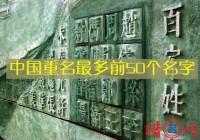 中国重名最多的名字前50个名字公布